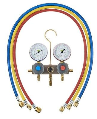 Refco MANIFOLD SET WITH HOSES Dual Scale Gauges, R22, R134a & R404A Scales