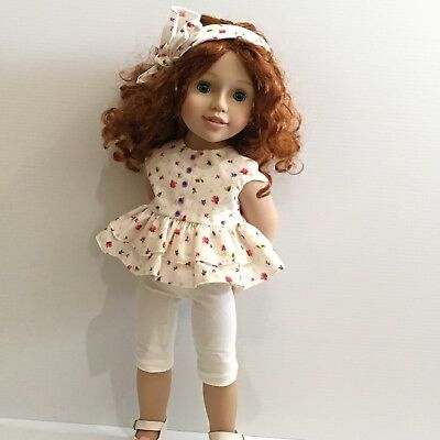 Peplum Top, Tights + Headband - Doll Clothes Made To Fit Australian Girl Dolls