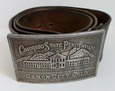 Vintage Colorado State Penitentiary Buckle & Leather Belt