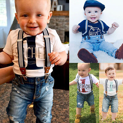 AU Toddler Newborn Baby Boy Bib Overalls Denim Pants Kids Jeans Trousers Bottoms