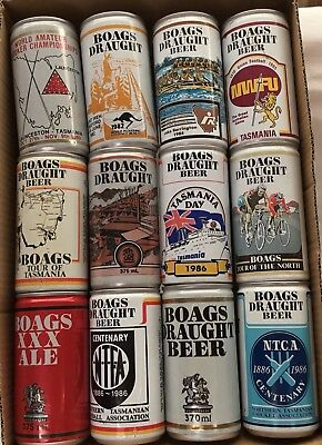 12 Mixed Older Boags Beer Cans