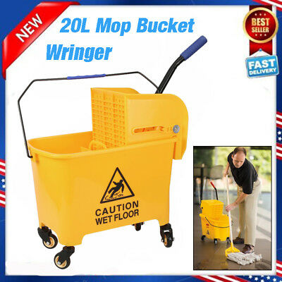Rolling Mini Side Press Mop Bucket with Wringer 21qt / 5.2 Gallons/20L Yellow UR