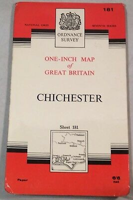 "Collectable Vintage ""Chichester"" Sheet 181 Ordnance Survey Map c.1965"