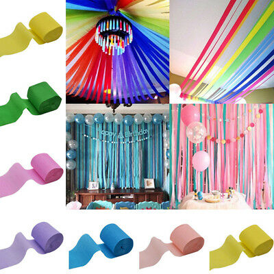 9M Crepe Paper Streamer Roll Wedding Birthday Party Supplies Hanging Home Decor