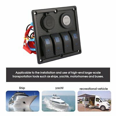 4 Gang LED Rocker Switch Panel with Digital Voltmeter Dual USB Charger  VN