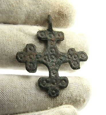 Authentic Medieval Crusaders Era Bronze Cross Pendant W/ Suns - G25
