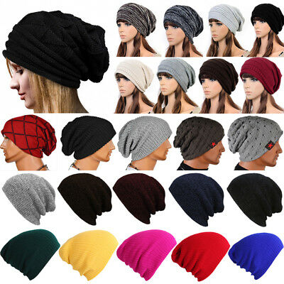 Mens Ladies Women Soft Warm Winter Knitted Slouch Oversize Long Beanie Skull Hat