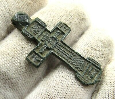 Authentic Medieval / Post Medieval Bronze Cross Pendant - G27