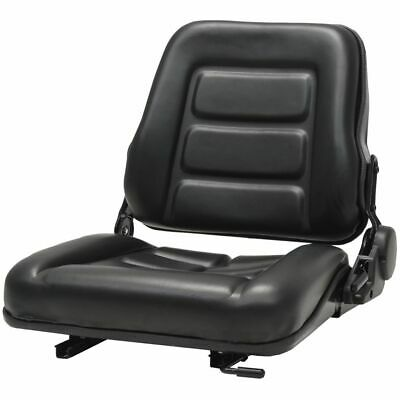 vidaXL Forklift & Tractor Seat with Adjustable Backrest Black Digger Part