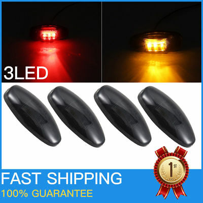 4x Smoke Side Fender Dually Bed Marker LED Light Assembly Amber/Red fr Chevy GMC
