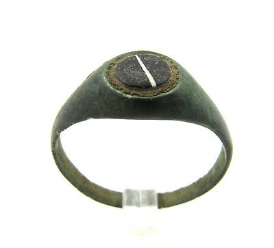 Authentic Late Medieval Tudor Bronze Ring W/ Glass - Wearable - G36
