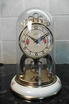 Vintage German Schatz 8 day Brass Clock with Plexi Glass Dome