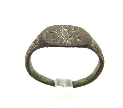 Authentic Medieval Viking Era Bronze Ring W/ Raven - Wearable  - G38