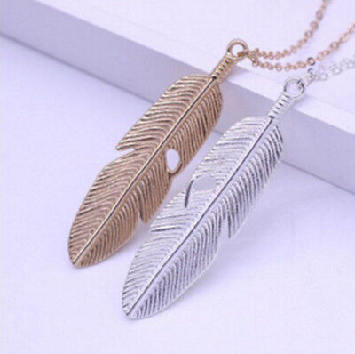 Feather Pendant New Women Long Chain Necklace Jewelry Sweater Statement Vintage