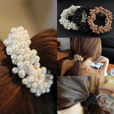 Hot Beads Rope Women Band Scrunchie Pearls Elegant Hair Ponytail Holder Jewelry