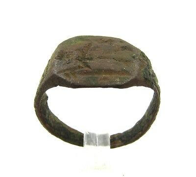 Authentic Medieval Viking Era Bronze Ring W/ Warrior - Wearable  - G41