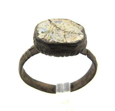 Authentic Late Medieval Tudor Bronze Ring W/ Glass - G44