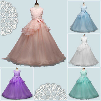 Flower Girls Lace Formal Wedding Dresses Bridesmaid Pageant Maxi Dress Age5-16Y