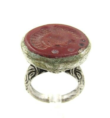 Authentic Post Medieval Silver Ring W/ Carved Intaglio Carnelian Bust - G45