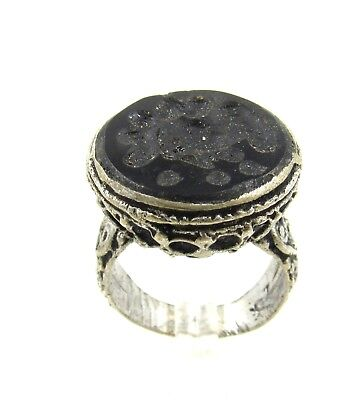 Authentic Post Medieval Silver Ring W/ Carved Intaglio Bust - G46