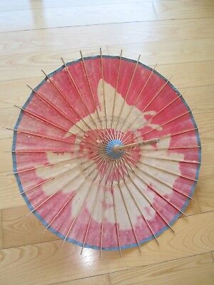 Beautiful Antique Japanese Rice Paper Art Deco Parasol Butterfly As Is Condition