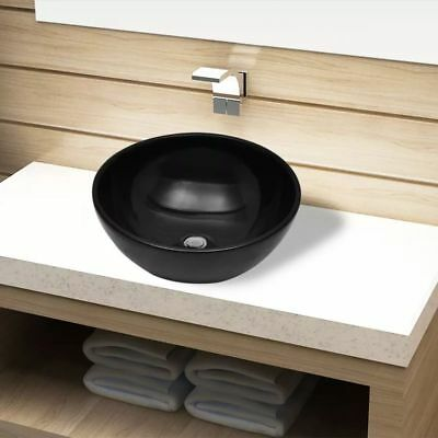 Ceramic Bathroom Sink Basin Vessel Black Round Washroom Kitchen Powder Room