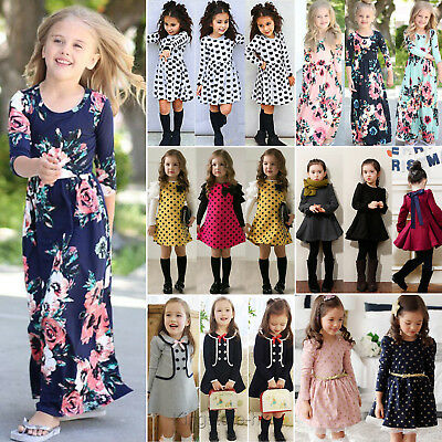 Toddler Kids Baby Girls Long Sleeve Floral Dress Casual Party Tutu Dress 1-9Year