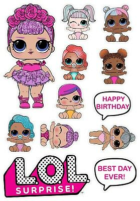 LOL Dolls Set Large Doll & Babies Edible Cake Toppers Decorations