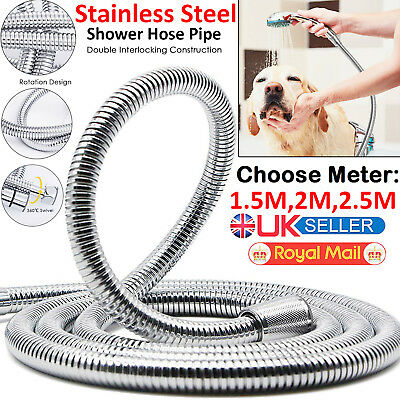 1.5 2M 2.5M Stainless Steel Flexible Bathroom Bath Shower Head Hose Pipe Washers