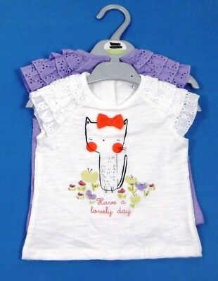 Ex Store Baby Girls 2 Pack Cat White Lilac Frill Tops T-Shirts Age 6/9 Months