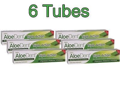 Aloe Dent Fluoride-free Toothpaste Pack of 6 Triple Action 100ml from Optima®