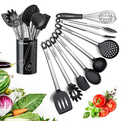 Godmorn 9Pcs Silicone Kitchen Utensils Set Nonstick Cooking Gadget Tool & Holder