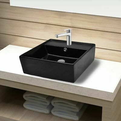 Ceramic Bathroom Sink Basin Faucet /Overflow Hole Black Square Washroom Kitchen