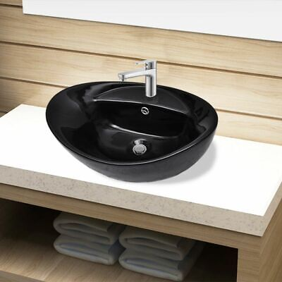 vidaXL Basin Faucet/Overflow Hole Black Oval Ceramic Countertop Bathroom Sink