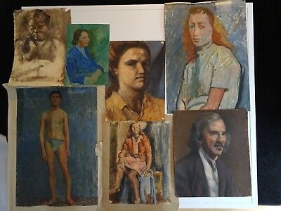 Early 20th Century Portfolio Sketches Portrait Nudes Oil Painting