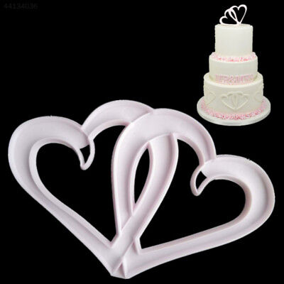 A2F5 DIY Kitchen Tool Cake Embossing Die Cake Fondant Mould Double Heart Shape