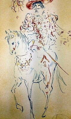 """Colorful Lithograph by Laszlo Dus, """"The Cavalier"""" signed, numbered and dated"""