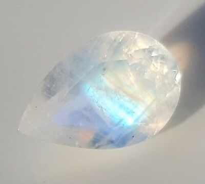 WaterfallGems Rainbow Moonstone Faceted Pear,  8.9x6mm, 1.23ct