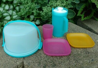 Tupperware Toys Cake Carrier, Pitcher,  2 Plates, 1 Cup