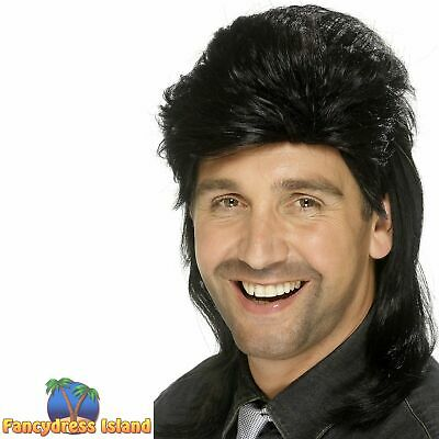 Mullet Wig Rocker Disco 80s Adult Men's Fancy Dress Costume Accessory