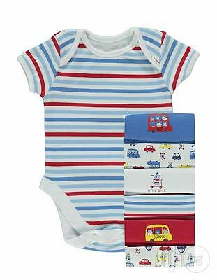 NEW 7x Baby Boys Body Suits Vests Cars Short Sleeve Red Blue 3-6 M