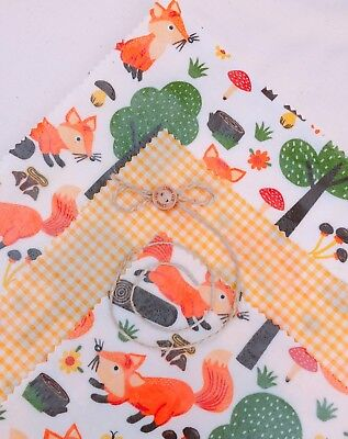 "Large Lunch Pk Of 3 ""Eco Habit"" Beeswax Food Wraps,Fox Design, Zero Waste"