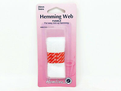 Hemline Fusible Hemming Web Tape 25mm x 5m No Sew Iron On Fabric Hems