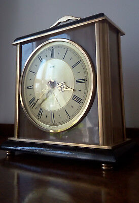 Vintage Metamec Brass Wood and Marble effect Mantel Clock working