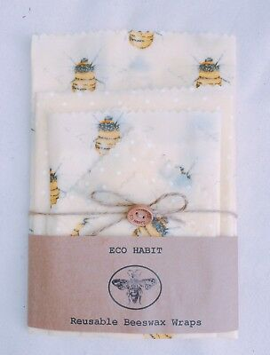 "XXL Set Of 5 ""Eco Habit"" Beeswax Food Wraps, Bees Design Handmade, Biodegradable"