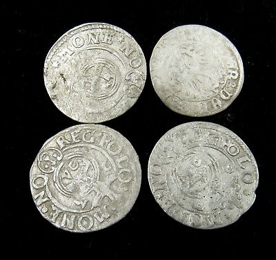 Authentic Lot Of 4 Medieval Silver Hammered Coins - G59