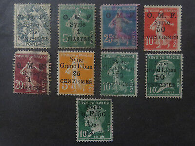 Syria / Grand Liban, O.M.F. Overprints on French Issues - High CV