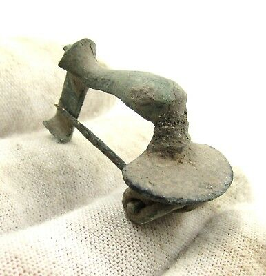 Authentic Ancient Roman Bronze Knee Brooch / Fibula - G65