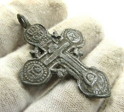 Authentic Post Medieval Silvered Bronze Radiate Cross Pendant - Wearable - G72