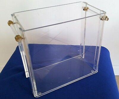 Vintage Mid Century Modern Lucite Magazine Rack or basket with Lucite and brass